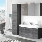 Bathroom wash place set 3-piece with 120cm vanity & mirror cabinet Florido-03 oak smoked silver with