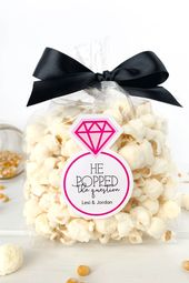 He Popped The Question Popcorn Stickers   – Engagement party planning