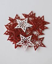 50 Red Christmas Stars Table Scatters, Christmas Card making, Christmas home decor, Christmas wedding Scatters, Party decor, Graduation