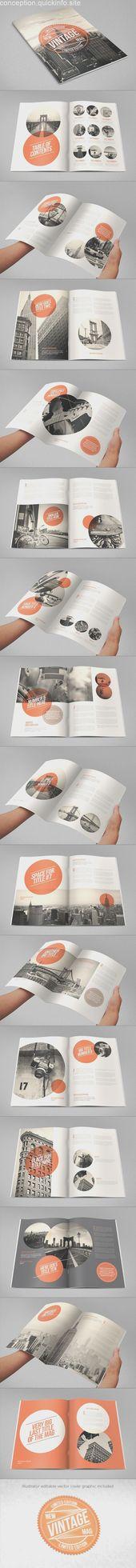 Revista Cool Vintage Retro. Descargar aquí: graphicriver.net / … #magazine #desi …   – Magazine Design
