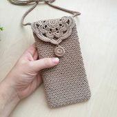 Crossbody phone case Shoulder iphone cover Crochet bag Small vegan purse Festival iphone case Boho summer pouch beige rustic style