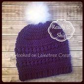 Beanie for Women, Crochet Beanie with Fur, Beanie with Pom Pom, Crochet Hat for Women, Detachable Pom Pom, Gift for Her, Gift for Women – Handmade by Lainetree Creations