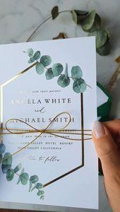 Greenery Platinum WEDDING INVITES with Eucaliptus Branch – Branch Eucaliptus platinum Greenery Invit