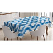 East Urban Home Ambesonne Ikat Tablecloth, Ikat Damask Linked Motifs Pattern Blurry Over Finer Tied Warp And Weft Yarns Design, Rectangular Table Cove