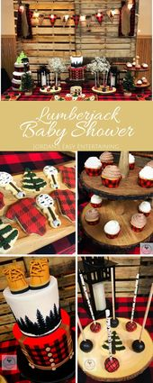 Buffalo Plaid Lumberjack Baby Shower Ideas Today I'm sharing these adorable Lumberjack Baby Shower ideas for your dessert table with desserts made by Sugar Fetish Cakery and styled by Simply Charming Designs