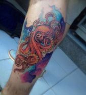 Watercolor Octopus Tattoo by Madhouse Tattoo,  #Madhouse #Octopus #OctopusTattoowatercolor #T…
