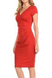 V-neck Zip Up Work Office Career Side Wrap Sheath Dress