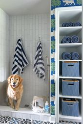 Mudroom with a dog shower features vertical tiles …