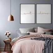 Süße Träume Rose Gold Print, Set von 2 Rose Gold Prints, Schlafzimmer Wanddekoration, Kupfer über Bett Kunst, Kinderzimmer Print, Kupfer Sweet Dream Poster