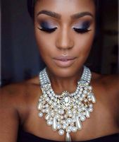 From her bold eyes to her statement necklace, this look is gorgeous for any nigh…