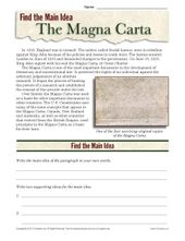 Excessive College Foremost Thought Worksheet About The Magna Carta