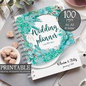 Winter wedding planner, Succulent printable planner, Greenery wreath binder, DIY wedding planner, Wedding PDF, Wedding organiser, checklist