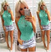 New Ladies Women Sleeveless Bodysuit Lace Leotard Body Tops Shirt Jumpsuit Lace Hollow Out Fashion – Body