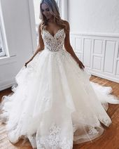Beautiful V-Neck Lace Bridal Dress,Backless Wedding Gowns,Tulle Wedding Dress