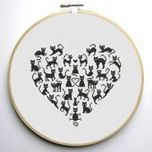 Heart and Cats 2 cross stitch pattern – Instant Download PDF
