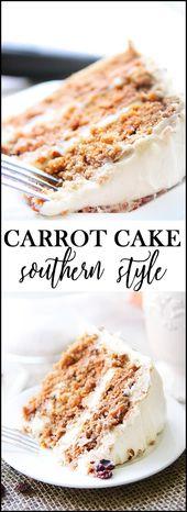 ¡El MEJOR pastel de zanahoria al estilo sureño! Este pastel es súper húmedo y lleno de agua tibia …   – Dinner
