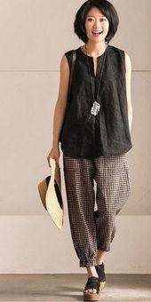 ART CASUAL BLACK WHITE GRID PANTS COTTON WOMEN CLOTHES K9653B