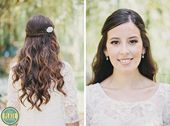 photo of half up wavy wedding hairstyle with braided accent and crystal clip,  #accent #Braid...