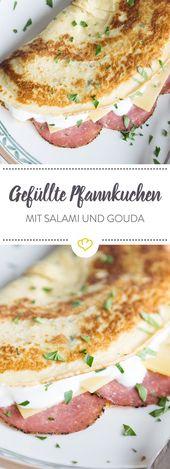 Stuffed pancakes with salami and cheese   – Pfannkuchen, Pancakes & Crêpes