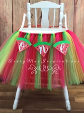 One in a Melon High Chair Tutu, Girls First Birthday Highchair Banner, Our Sweet Girl Watermelon 1st Birthday Smash Cake Photo, Turning One