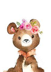 Set of 4 Girls Woodland Animal Nursery Prints, Girls Nursery Wall Art, Woodland Prints, Pink Floral Woodland Theme Nursery, Pink Nursery Art