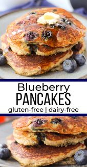 Easy, fluffy buttermilk Blueberry Pancakes made from scratch, gluten-free and da…   – Gluten-Free Dairy-Free Breakfast
