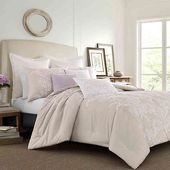 Laura Ashley® Claire Solid Embroidered Comforter Set in Natural | Bed Bath & Be...
