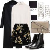 Black skirt printed flower shirt or pullover …
