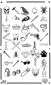 sortierte einfache und kleine Tätowierungen für Männer, gezeichnet in Schwarz…