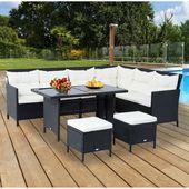 8-Sitzer Lounge-Set Aliki aus Polyrattan mit Garten-Wohnkissen   – Products