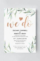 Boho Hochzeitseinladung mit Eukalyptus   – Hochzeitspapeterie