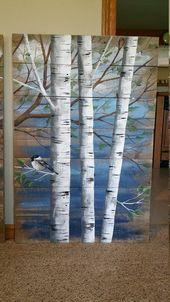 Malerei auf Holz, Paletten-weiß-Birke-Wand-Dekor Altholz Malerei, 4 Stück-Set, 9′ breit insgesamt, von handbemalt dunkelblau, rustikal schäbig