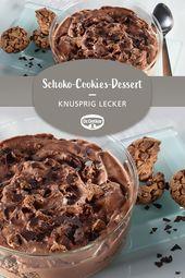 Eiskaltes Schoko-Cookies-Dessert