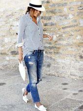 Button Up Blaue und weiße gestreifte Bluse