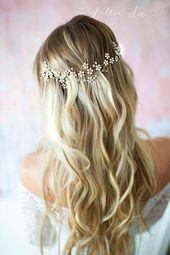 Gold Wedding Hair Vine, Boho Flower Crown, Hair Wreath, Opal Peach Blush, Gold Wedding Flower Hair Vine, Boho Wedding Headpiece - 'LACEY'