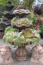 succulent fountain | Succulent fountain from Cordova Gardens