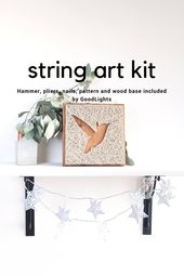 DIY string art kit for adults and kids, Easter string art kit, bird silhouette DIY, step by step string art DIY kit, Hummingbird decor