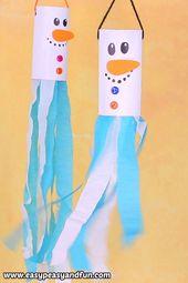 Schneemann Windsack Toilettenpapierrolle Craft