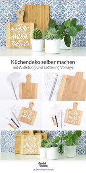 Küchendekoration selber machen: weiße Schrift auf Holzbrett   – DIY | Geschenke selber machen