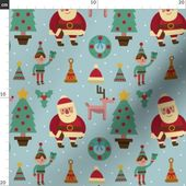 Christmas Fabric – Santa Elf Reindeer Christmas Tree Winter Holiday Snow By Khaus- Kids Holiday Cott