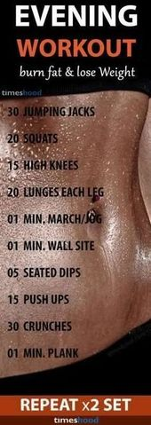 10 Effective Evening Workout for Weight loss with Infographic