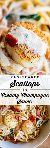 Jakobsmuscheln in cremiger Champagnersauce von Food Charlatan in die Pfanne geben. Wenn du   – Dinner Recipe Easy Skillet