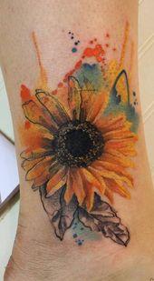 Tatuaje de girasol acuarela © Simona Borstnar artista del tatuaje 💖🌻💖🌻 …   – Fitness