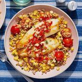 Seared Tilapia & Pickled Pepper Relish with Farro, Corn & Tomato Salad