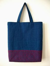 Indigo Tote with Dark Red Kakinohanazashi
