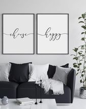 Choose Happy Wall Art, Happiness, Dorm Wall Art, Above Couch Wall Decor, 2 piece wall art