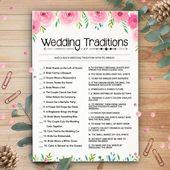 Wedding Traditions, Bridal Shower Games, Printable Wedding Shower Games, Instant Digital Download, Bachelorette Games, Wedding Quiz Game