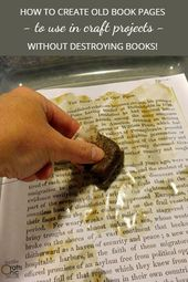 Verwenden Sie alte Buchseiten in Bastelarbeiten, ohne Bücher zu zerstören