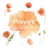 Watercolour Poppies Floral Clipart, Hand Painted Flower Clipart, Floral Wedding Clipart, Hand Painte