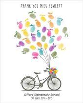 Lehrer Wertschätzung Geschenk, personalisierte Geschenk für Lehrer, Fingerabdruck Lehrer Geschenk mit Fahrrad & Luftballons, Ende des Jahres Vorschule, druckbare